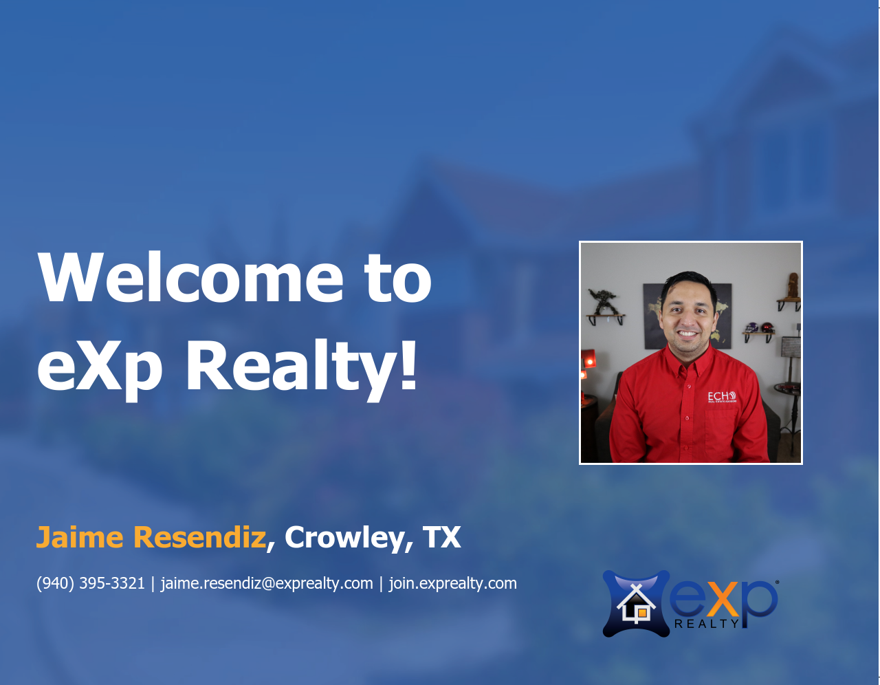 Welcome to eXp Realty Jaime Resendiz!