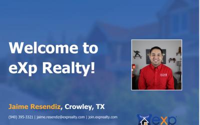 Welcome to eXp Realty Jaime Resendiz!